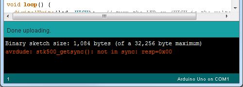 error: avrdude: stk500_getsync()